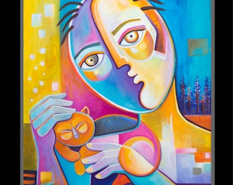 Cubism Abstract Original Oil painting on canvas Marlina Vera Fine Art Gallery artwork sale CAT LOVER Pop Art Picasso Style expresiomism sale