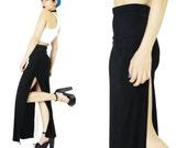 1990s Black Maxi Skirt Super High Leg Slit Sexy Skirt Stretchy Spandex Bodycon Skirt High Waisted Skirt Long Goth Clubwear Skirt (XS/S)