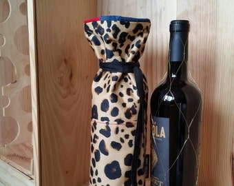 Statement Leopard Print gift bag for wine lined in Denim and red
