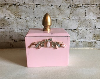 Pink Box Wood Canister Pink And Gold Upcycled Storage Shabby Chic Pink