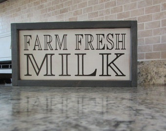 Farm Fresh Milk | Rustic Distressed Sign | Milk Sign | Farmhouse Kitchen Country Sign | Painted Wall Sign | Hanging Wood Sign |