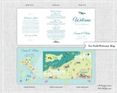 Chic Wedding Map with Itinerary, Wedding Map Invitation, Save the Date, Infographic -- Sorrento, Italy (5x7 Tri-Fold)