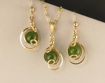 Green Jade Gold Necklace Set, Unique Jade Jewelry Gift Set, Nephrite Jade Gemstone Drop Chain Necklace Set