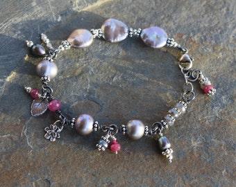 Hot Pink Sapphires & Platinum Gray Freshwater Pearls Bracelet, Handmade OOAK Boho Chic, Handcrafted Artisan Sterling Silver Bracelet