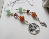 Tree of Life Carved Bookmark Book Thong - Simple Gift Bookmark in Teal, Orange, and Purple with Filigree Leaf and Tree Charms
