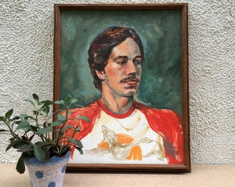 1970s Framed Portrait - oil paint on canvas board