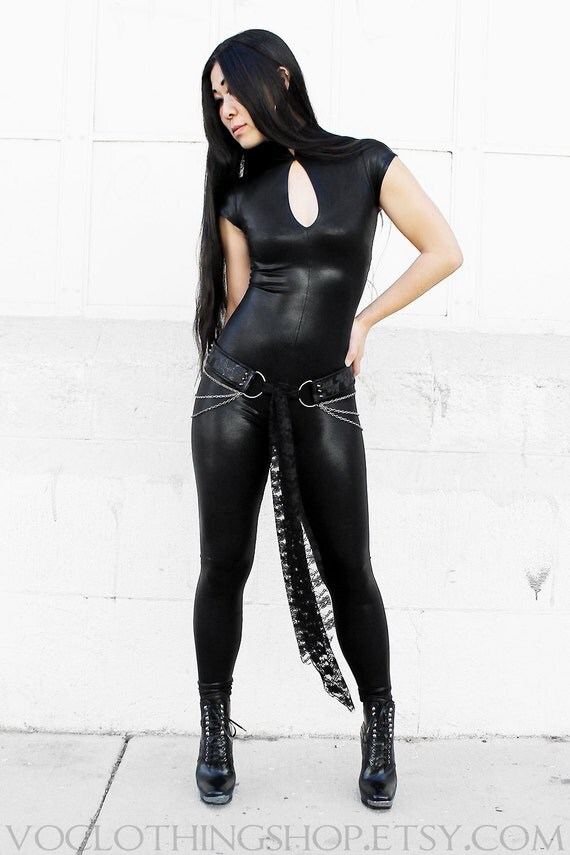 BLACK METALLIC CATSUIT in shiny wet-look spandex with short sleeves