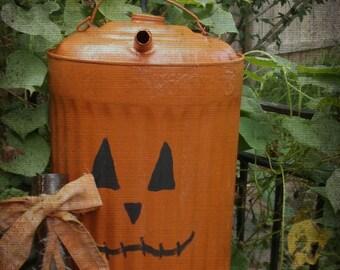 Rustic Halloween Decor. Farmhouse Painted Pumpkin. Upcycled ANtique Kerosene Can.  Autumn Fall Festive Decor. Porch Patio Garden