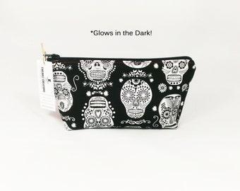 Glow in the Dark Sugar Skull Toiletry Bag Cosmetic Pouch Shaving halloween dia de los muertos stocking stuffer man woman girl gift accessory