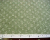 Laura Ashley English Country Print Decorator Fabric -Little Ivory Floral on Sage Green -Small Print Home Decor Pillow Drapery Cotton BTY