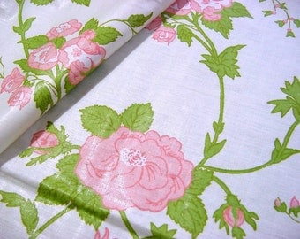 "Vintage Rose Floral Chintz Fabric - Greeff ""Keswick"" Cotton Made in England The Cummersdale Collection 59821 Salesman Sample Pink Green"