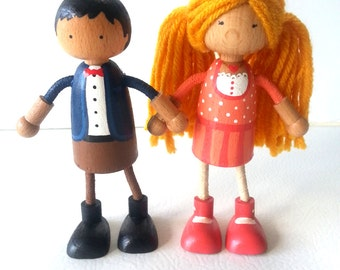 Dollhouse Dolls - Bendable Arms and Legs -Unique Gift -Waldorf- Stocking Stuffer - Christmas Gift For Kids - Hanukkah