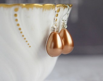 Rose Gold Teardrop Pearl Earrings Teardrop Earrings Blush Champagne Freshwater Pearl Seashell Sterling Silver Wire Wrapped Bridal Earrings