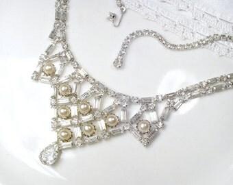 Art Deco Ivory Pearl Bridal Necklace, Vintage Baguette Crystal Rhinestone Statement Necklace, 1920s Gatsby Wedding Silver Bib Festoon