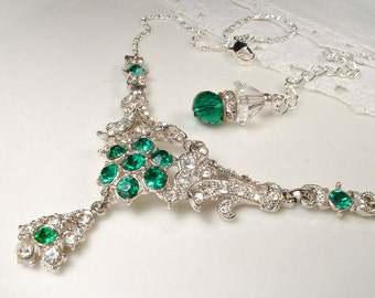 Art Deco Emerald Green Bridal Necklace, Vintage 1930s 1940s Paste Crystal Statement Necklace, Great Gatsby Wedding Flapper Jewelry