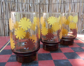 Trio of Vintage Amber Sunburst Drinking Glasses