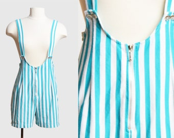 Vintage 80s Striped Suspenders Playsuit Romper / 1980s Blue and White Zip Up One Piece Playsuit Shorts Overalls Sleeveless S