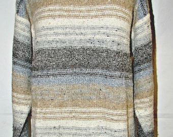 Vintage Oversize Wool Pull Over Sweater Boat Neck Unisex Sz Medium Gray Powder Blue Taupe Beige Stripes Warm and Soft