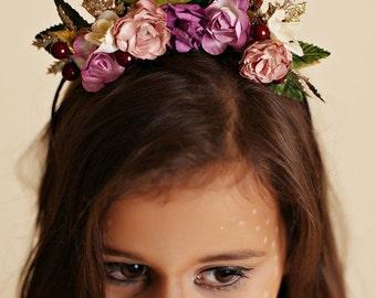 Antler Headband Floral Headpiece Glitter fawn, doe halloween costume
