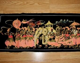 Vintage Tribal Wall Hanging - Painted Velvet Sri, Durshanu Travel Souvenir, Tribal Men with Elephant, Gold Pink Black