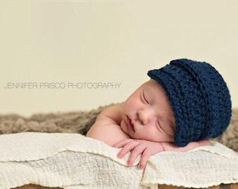 Baby boy Newsboy Hat - Newborn Boy Hat - Infant Boy Crochet Hats - Newborn Baby Boy Hat - Navy Blue - Baby Photo Prop Outfits Hats - Winter