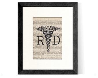 RD Registered Dietitian Caduceus over Vintage Medical Book Page - RD Gift, Registered Dietitian Gift, RD Graduation Gift, Dietitian Gift