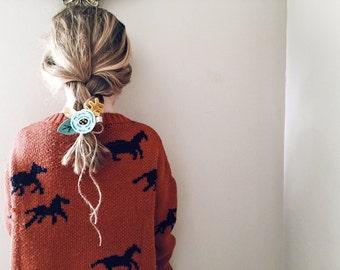 Felt Hair Clip in Seafoam, Felt Bows, Hair Flowers, Alice in Wonderland, giddyupandgrow