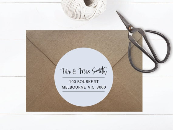 40mm ADDRESS LABEL TAGS | Personalised Customised Typography Monochrome Minimalist Round Circle