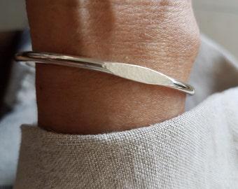 Silver Signet Cuff Bracelet, Sterling Silver Bracelet, Stacking Bracelet, Open Cuff Bracelet - Handmade Silver Bracelets