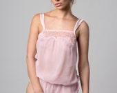 FIONA Icy Pink playful Tassel silk chiffon playsuit Teddy, boudoir bodysuit, Valentines day