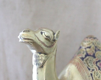 Vintage brass and enamel camel figurine