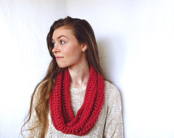 Cotton Knit Scarf Infinity Chunky Knitted Scarf Cranberry Red Infinity Scarf Cotton Knit Scarf Chunky Cotton Scarf Cotton Cowl Neck Warmer