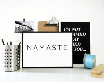 Namaste Printable Print - Welcome Print Entryway Wall Art, Minimal Black & White Art, Gift for Yogi, Yoga Studio Decor, Inspirational Quote