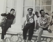 Vintage French Photo - Men Sat on a Window Ledge Wearing Snail Badges