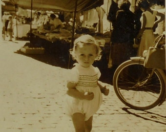 French Vintage Photo - Little Girl at a French Market