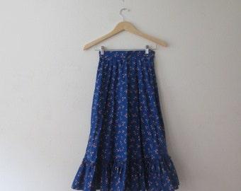 Sweetest 70s Navy Blue Cotton Calico Prairie Skirt, XS