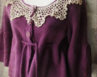 French Bohemian Sweater Jacket.Plum Ecru. Waist Coat. Bell SLeeves Cropped Waist. Crochet lace Collar.Shabby Boho Romance. Renaissance.Med