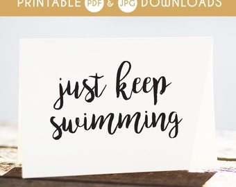 finding dory, dory quote, just keep swimming, encouragement card, finding nemo quote, finding nemo card