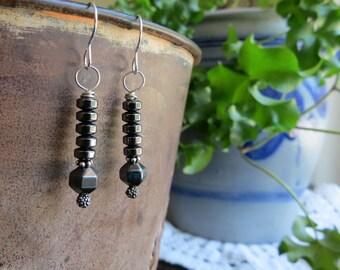 black earrings . STALLION . silver earrings . hematite earrings . dark earrings . under 15 dollars . reflective earrings . everyday earrings