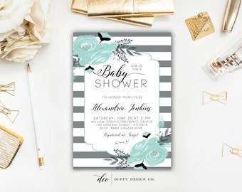 Baby Shower Invitation, Baby Boy Shower Invitation, Blue Baby Shower Invite, Baby Shower Invitation for Boy, Oh Boy Baby Shower Invitation
