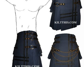 Interchangeable Dark Blue Cargo Utility Kilt Leather Double Cross Design Custom Fit Adjustable Many Options