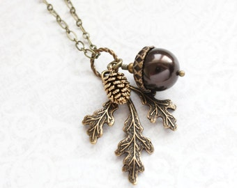 Brown Pearl Pendant Necklace Pearl Acorn Charm Nature Inspired Pinecone Branch Leaf Rustic Oak Woodland Wedding Autumn Jewelry Bridesmaids