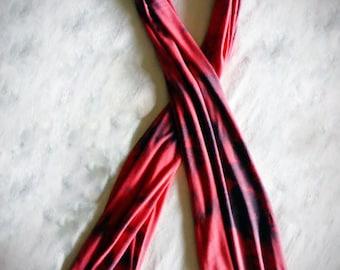 Red & Black Tie Dye Acid Wash Scarf