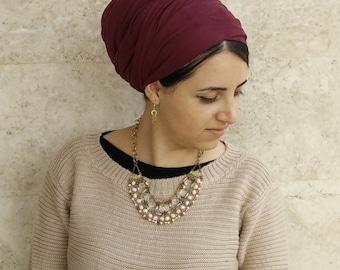hair wrap,Suede Leatherette head scarf,israel clothing,snood,hair covering,head scarfs,oshratdesignz,chemo scarf