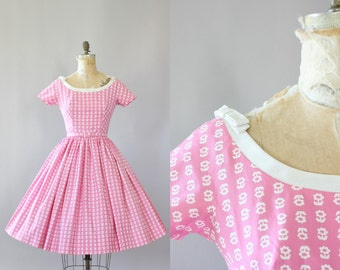 Vintage 50s Dress/ 1950s Cotton Dress/ Lanz Pink Floral Cotton Dress w/ Bows and Matching Belt S