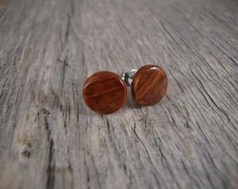 Wooden Stud / Post Earrings -Redwood Burl Wood - Handmade in the USA - hypoallergenic / surgical steel