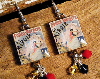 VINTAGE FRENCH POSTER, Scrabble Tile Dangle Earrings, with swarovski crystal bicones