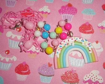 Yummy Candy Land Rainbow Sprinkles Gumball Beaded Necklace