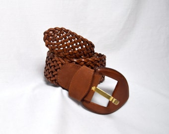 Folk Yeah - Thick Brown Woven Leather Belt