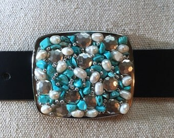 Turquoise, Pearl and Silver Beaded Belt Buckle
